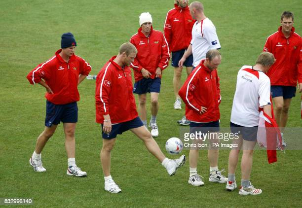England and Lancashire cricketer Andrew Flintoff kicking a football on the nursery ground at the Rose Bowl in Southampton after the first day of...