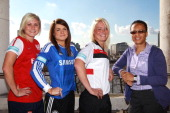 England and Team GB Head Coach Hope Powell poses with FA WSL Digital Ambassadors Megan Harris of Lincoln Ladies Claire Rafferty of Chelsea Ladies and...