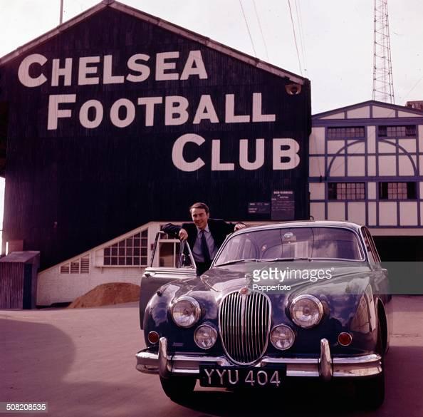 England and Tottenham Hotspur footballer Jimmy Greaves posed at the door of his Jaguar Mark 2 car outside Stamford Bridge Chelsea's football ground...