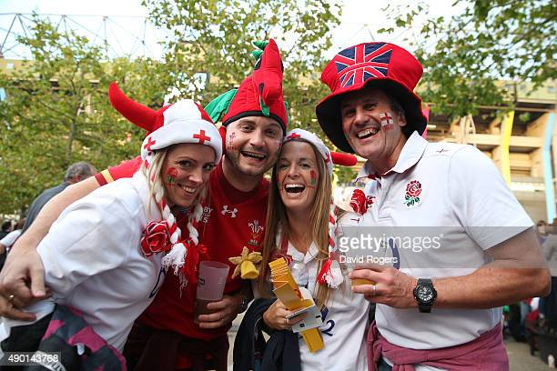 England and Wales fans enjoy the pre match atmosphere during the 2015 Rugby World Cup Pool A match between England and Wales at Twickenham Stadium on...