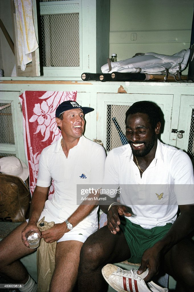 England and Yorkshire batsman <a gi-track='captionPersonalityLinkClicked' href=/galleries/search?phrase=Geoff+Boycott&family=editorial&specificpeople=220246 ng-click='$event.stopPropagation()'>Geoff Boycott</a> (l) shares a joke with West Indies batsman <a gi-track='captionPersonalityLinkClicked' href=/galleries/search?phrase=Viv+Richards&family=editorial&specificpeople=622151 ng-click='$event.stopPropagation()'>Viv Richards</a> in the dressing room during the 1981 Test series between West Indies and England.