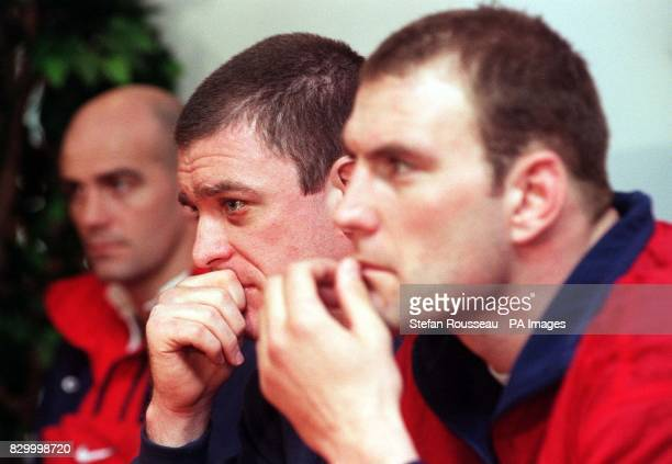 England Assistant Coach John Mitchell new signing Dean Ryan and England Captain Lawrence Dellaglio during a news conference today before their Sunday...