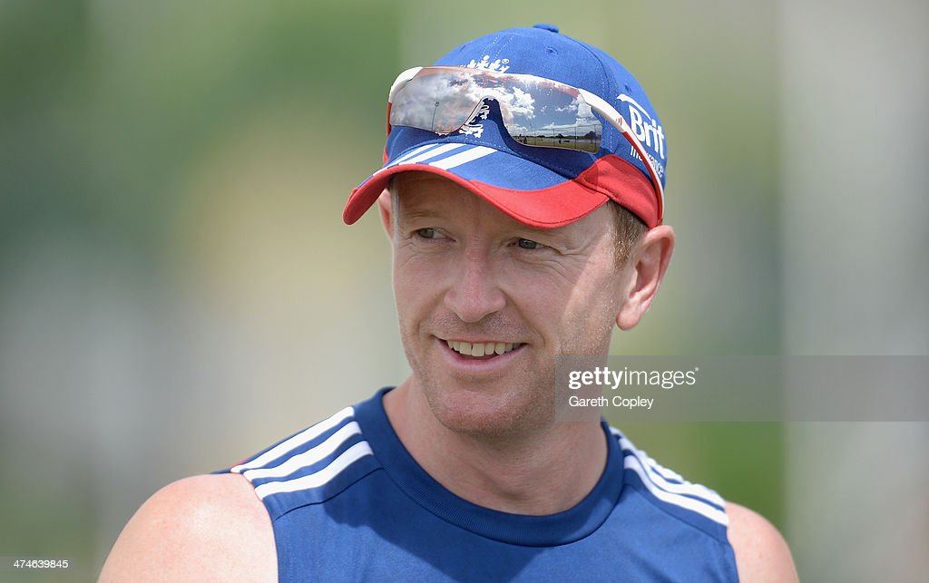 England assistant coach <a gi-track='captionPersonalityLinkClicked' href=/galleries/search?phrase=Paul+Collingwood&family=editorial&specificpeople=204191 ng-click='$event.stopPropagation()'>Paul Collingwood</a> smiles during a nets session at Sir Viv Richards Cricket Ground on February 24, 2014 in Antigua, Antigua and Barbuda.