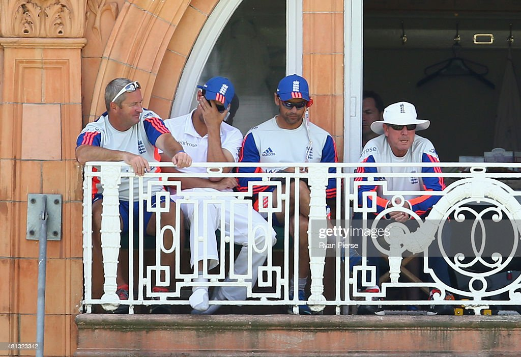 England assistant coach <a gi-track='captionPersonalityLinkClicked' href=/galleries/search?phrase=Paul+Farbrace&family=editorial&specificpeople=3595939 ng-click='$event.stopPropagation()'>Paul Farbrace</a>, <a gi-track='captionPersonalityLinkClicked' href=/galleries/search?phrase=Alastair+Cook+-+Cricket+Player&family=editorial&specificpeople=571475 ng-click='$event.stopPropagation()'>Alastair Cook</a> of England, England Batting coach <a gi-track='captionPersonalityLinkClicked' href=/galleries/search?phrase=Mark+Ramprakash&family=editorial&specificpeople=240276 ng-click='$event.stopPropagation()'>Mark Ramprakash</a> and England coach <a gi-track='captionPersonalityLinkClicked' href=/galleries/search?phrase=Trevor+Bayliss+-+Cricket+Coach&family=editorial&specificpeople=14620221 ng-click='$event.stopPropagation()'>Trevor Bayliss</a>, look on during day four of the 2nd Investec Ashes Test match between England and Australia at Lord's Cricket Ground on July 19, 2015 in London, United Kingdom.