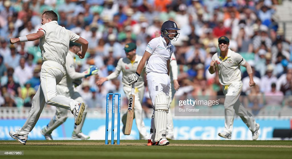 England batsman <a gi-track='captionPersonalityLinkClicked' href=/galleries/search?phrase=Adam+Lyth&family=editorial&specificpeople=4444475 ng-click='$event.stopPropagation()'>Adam Lyth</a> reacts after being dismissed by <a gi-track='captionPersonalityLinkClicked' href=/galleries/search?phrase=Peter+Siddle&family=editorial&specificpeople=2104718 ng-click='$event.stopPropagation()'>Peter Siddle</a> (l) during day three of the 5th Investec Ashes Test match between England and Australia at The Kia Oval on August 22, 2015 in London, United Kingdom.