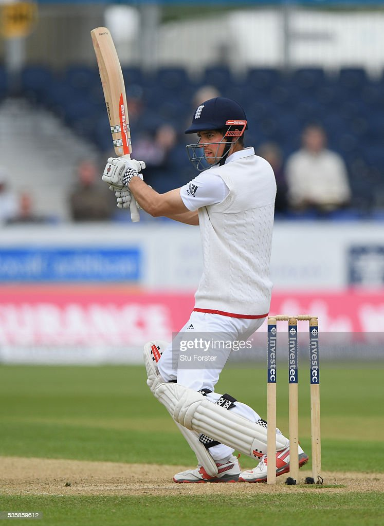 England batsman Alastair Cook cuts a ball to the boundary during day four of the 2nd Investec Test match between England and Sri Lanka at Emirates Durham ICG on May 30, 2016 in Chester-le-Street, United Kingdom.