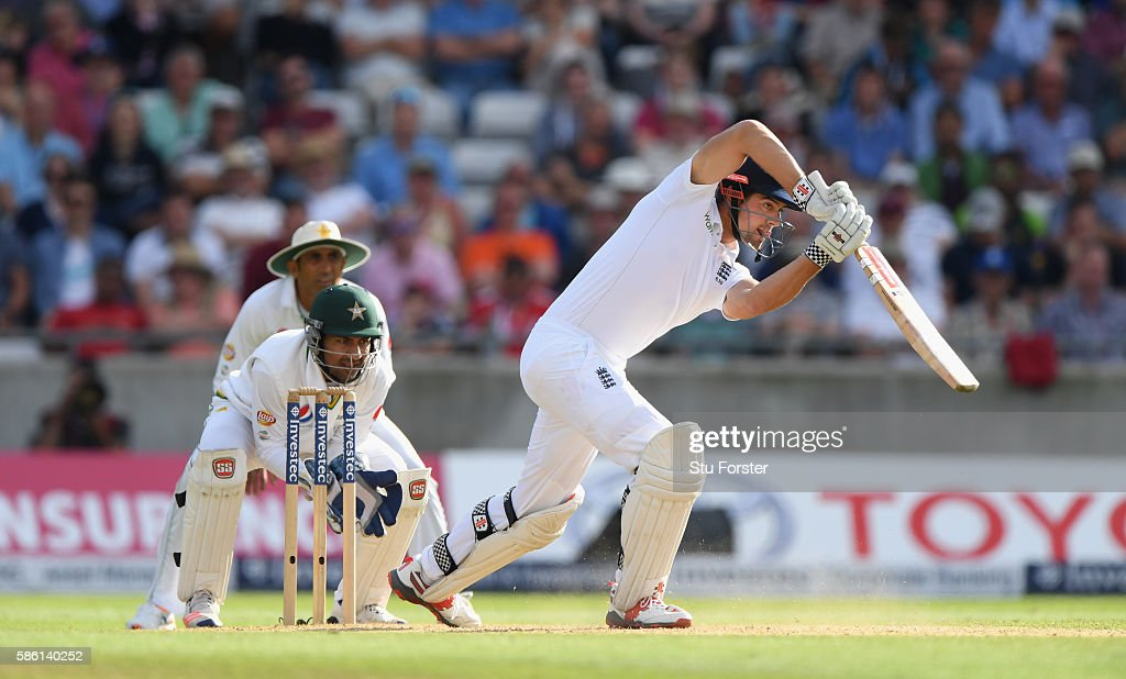 England batsman Alastair Cook hits out during day 3 of the 3rd Investec Test Match between Engand and Pakistan at Edgbaston on August 5, 2016 in Birmingham, England.