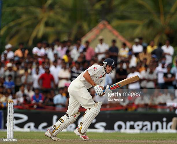 England batsman Alastair Cook picks up some runs during day 5 of the third test match between Sri Lanka and England at the Galle International...