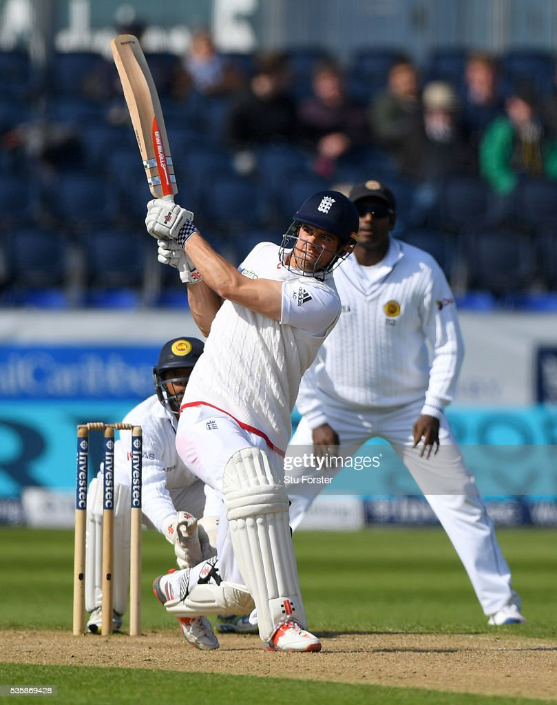England batsman <a gi-track='captionPersonalityLinkClicked' href=/galleries/search?phrase=Alastair+Cook+-+Cricket+Player&family=editorial&specificpeople=571475 ng-click='$event.stopPropagation()'>Alastair Cook</a> pulls a ball to the boundary during day four of the 2nd Investec Test match between England and Sri Lanka at Emirates Durham ICG on May 30, 2016 in Chester-le-Street, United Kingdom.