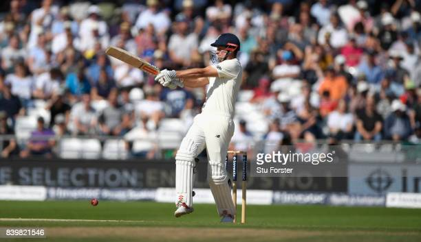 England batsman Alastair Cook pulls a short ball during day three of the 2nd Investec Test match between England and West Indies at Headingley on...
