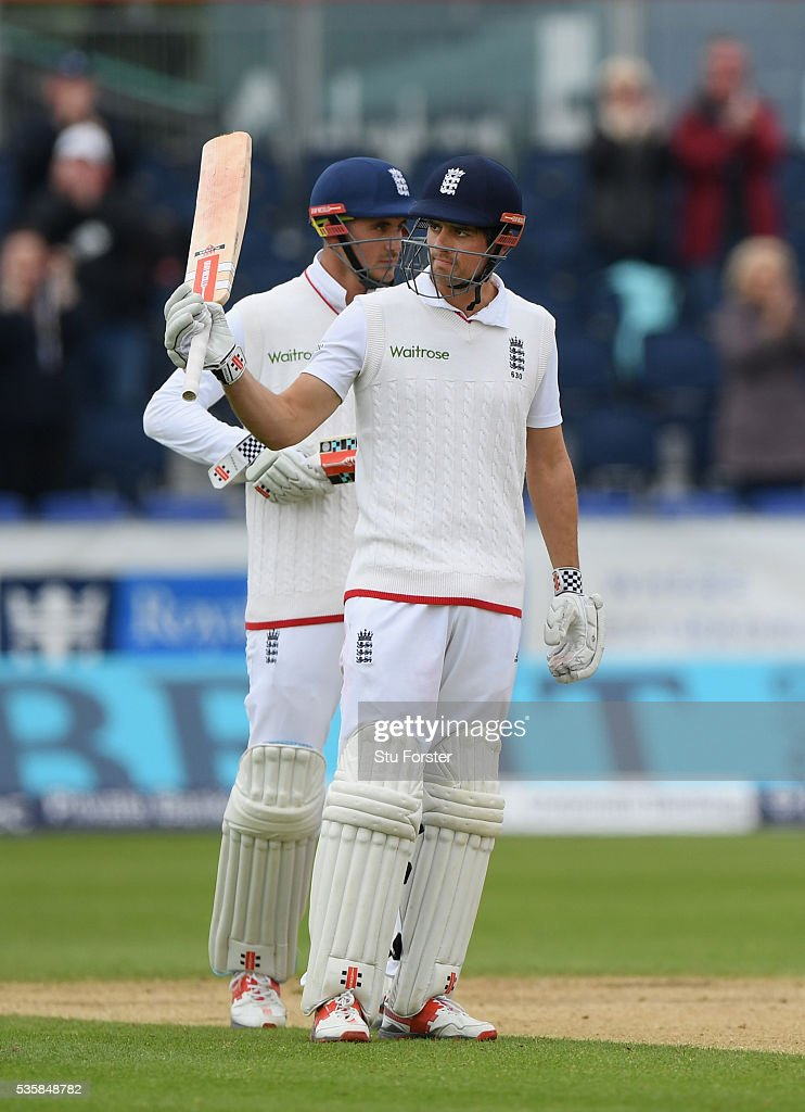 England batsman <a gi-track='captionPersonalityLinkClicked' href=/galleries/search?phrase=Alastair+Cook+-+Cricket+Player&family=editorial&specificpeople=571475 ng-click='$event.stopPropagation()'>Alastair Cook</a> raises his bat after reaching 10,000 test runs during day four of the 2nd Investec Test match between England and Sri Lanka at Emirates Durham ICG on May 30, 2016 in Chester-le-Street, United Kingdom.