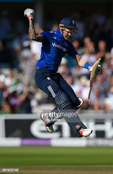 England batsman Alex Hales celebrates his century during the 3rd One Day International between England and Pakistan at Trent Bridge on August 30 2016...