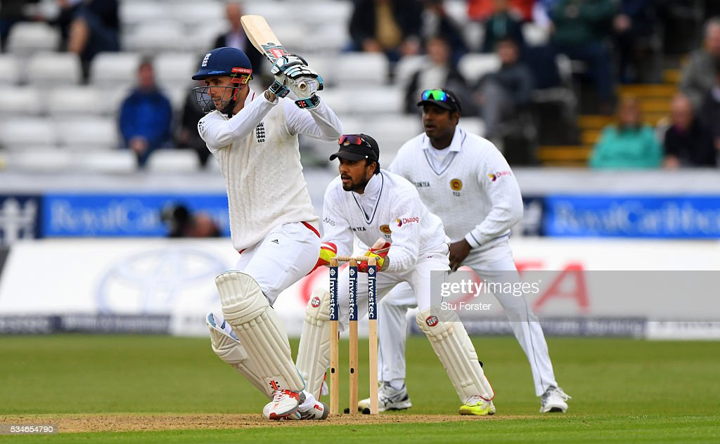 England batsman <a gi-track='captionPersonalityLinkClicked' href=/galleries/search?phrase=Alex+Hales&family=editorial&specificpeople=5129140 ng-click='$event.stopPropagation()'>Alex Hales</a> drives during day one of the 2nd Investec Test match between England and Sri Lanka at Emirates Durham ICG on May 27, 2016 in Chester-le-Street, United Kingdom.