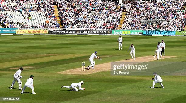 England batsman Alex Hales edges the ball to slip to be caught by Younis Khan off Mohammad Amir during day 4 of the 3rd Investec Test match between...