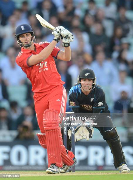 England batsman Alex Hales hits out during his innings of 39 runs watched by New Zealand wicketkeeper Tom Latham during the 1st NatWest International...