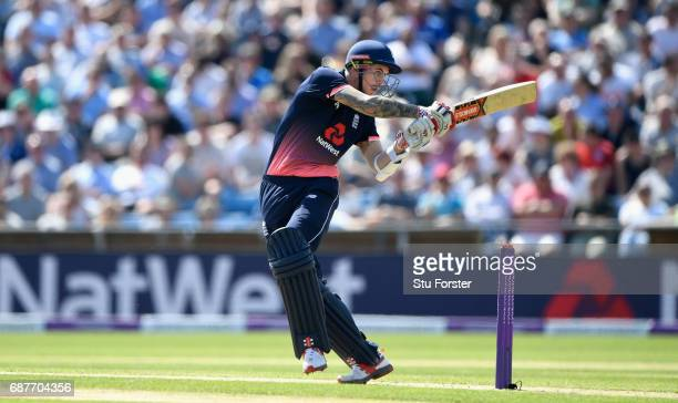 England batsman Alex Hales hits out during the 1st Royal London One Day International match between England and South Aafrica at Headingley on May 24...