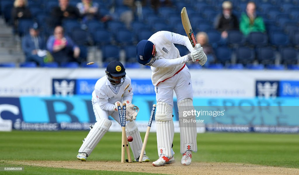England batsman <a gi-track='captionPersonalityLinkClicked' href=/galleries/search?phrase=Alex+Hales&family=editorial&specificpeople=5129140 ng-click='$event.stopPropagation()'>Alex Hales</a> is bowled by Milinda Siriwardana during day four of the 2nd Investec Test match between England and Sri Lanka at Emirates Durham ICG on May 30, 2016 in Chester-le-Street, United Kingdom.