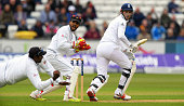 England batsman Alex Hales is caught at slip by Angelo Matthews as wickekeeper Dinesh Chandimal looks on during day one of the 2nd Investec Test...