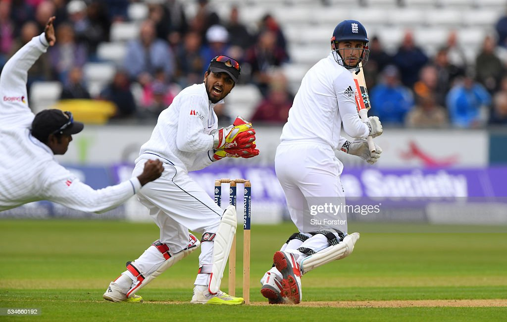 England batsman <a gi-track='captionPersonalityLinkClicked' href=/galleries/search?phrase=Alex+Hales&family=editorial&specificpeople=5129140 ng-click='$event.stopPropagation()'>Alex Hales</a> is caught at slip by Angelo Matthews as wickekeeper <a gi-track='captionPersonalityLinkClicked' href=/galleries/search?phrase=Dinesh+Chandimal&family=editorial&specificpeople=4884949 ng-click='$event.stopPropagation()'>Dinesh Chandimal</a> looks on during day one of the 2nd Investec Test match between England and Sri Lanka at Emirates Durham ICG on May 27, 2016 in Chester-le-Street, United Kingdom.