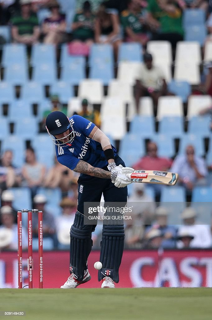 England batsman Alex Hales plays a shot during the third One Day International (ODI) match between England and South Africa at the Supersport park on February 9, 2016 in Centurion, South Africa. GUERCIA