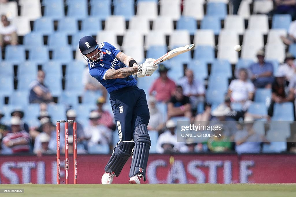 England batsman Alex Hales plays a shot during the third One Day International (ODI) cricket match between England and South Africa at the Supersport park on February 9, 2016 in Centurion, South Africa. GUERCIA