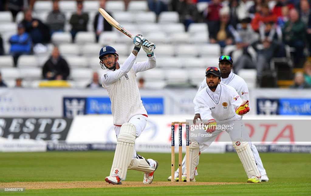 England batsman <a gi-track='captionPersonalityLinkClicked' href=/galleries/search?phrase=Alex+Hales&family=editorial&specificpeople=5129140 ng-click='$event.stopPropagation()'>Alex Hales</a> reaches his half century with a shot over mid on during day one of the 2nd Investec Test match between England and Sri Lanka at Emirates Durham ICG on May 27, 2016 in Chester-le-Street, United Kingdom.