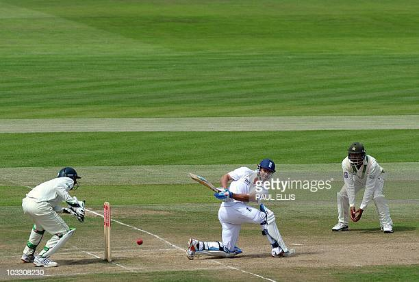 England batsman Andrew Strauss hits a four against Pakistan on the fourth day of the second Test match at Edgbaston in Birmingham central England on...