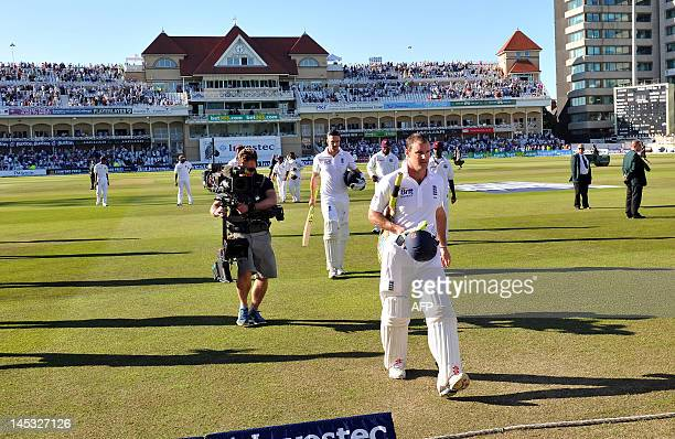 England batsman Andrew Strauss leaves the field at the end of the second day of the second Test match between England and West Indies at Trent Bridge...