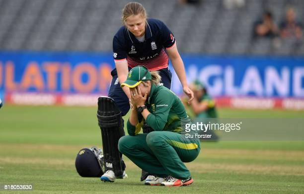 England batsman Anya Shrubsole goes over to console South Africa captain Dane van Niekerk during the ICC Women's World Cup 2017 SemiFinal between...