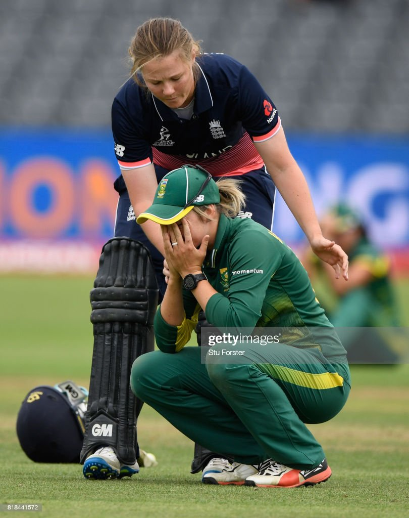England batsman Anya Shrubsole goes over to console South Africa captain Dane van Niekerk during the ICC Women's World Cup 2017 Semi-Final between England and South Africa at The County Ground on July 18, 2017 in Bristol, England.