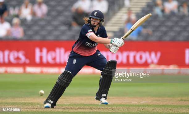 England batsman Anya Shrubsole scores the winning runs during the ICC Women's World Cup 2017 SemiFinal between England and South Africa at The County...