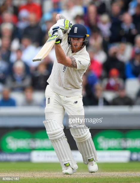 England batsman Ben Stokes drives during day three of the 4th Investec Test Match between England and South Africa at Old Trafford on August 6 2017...