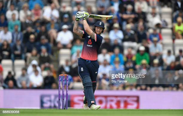 England batsman Ben Stokes hits a six during the 2nd Royal London One Day International between England and South Africa at The Ageas Bowl on May 27...