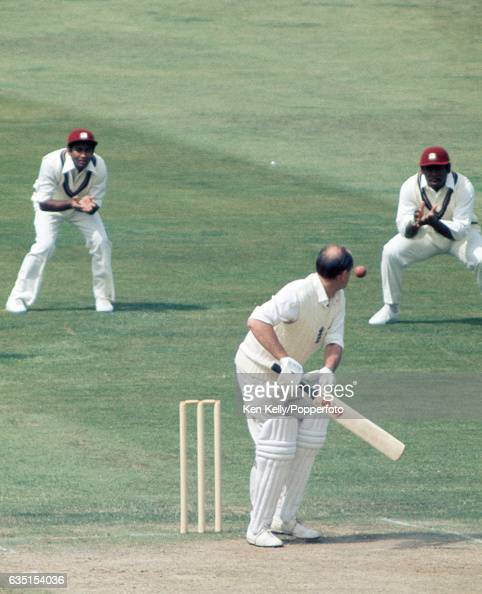 England batsman Brian Close edges his first delivery from West Indies bowler Wayne Daniel into the slips but is dropped by Gordon Greenidge of West...