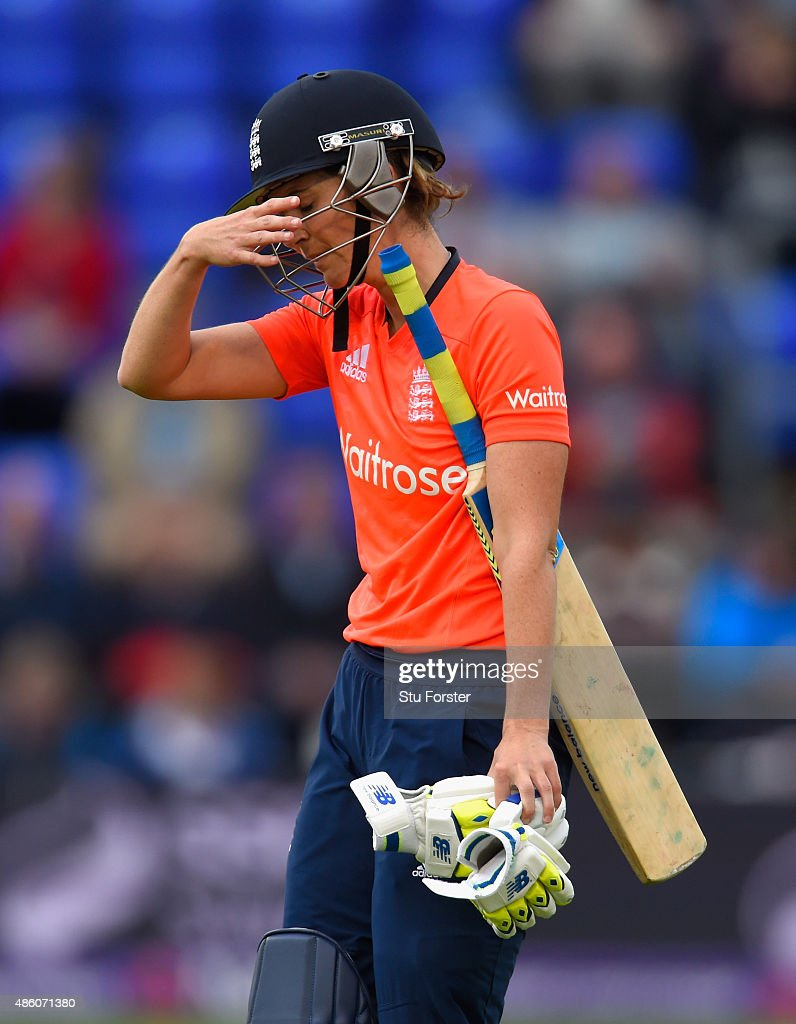 England batsman <a gi-track='captionPersonalityLinkClicked' href=/galleries/search?phrase=Charlotte+Edwards&family=editorial&specificpeople=618915 ng-click='$event.stopPropagation()'>Charlotte Edwards</a> reacts after being dismissed during the 3rd NatWest T20 of the Women's Ashes Series between England and Australia Women at SWALEC Stadium on August 31, 2015 in Cardiff, United Kingdom.