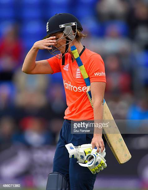 England batsman Charlotte Edwards reacts after being dismissed during the 3rd NatWest T20 of the Women's Ashes Series between England and Australia...
