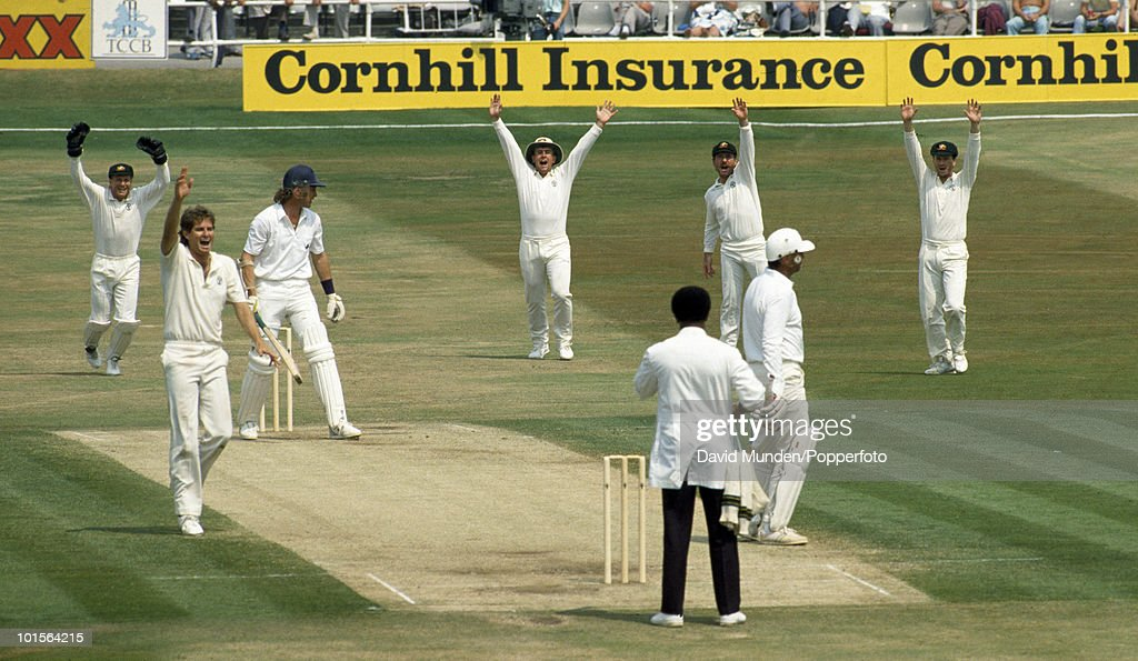 England batsman Chris Broad is out LBW to Terry Alderman for 7 in England's 2nd innings, as Australia celebrate on the fifth day of the 1st Test match between England and Australia at Headingley in Leeds, 13th June 1989. The umpire is John Holder. Australia won by 210 runs.