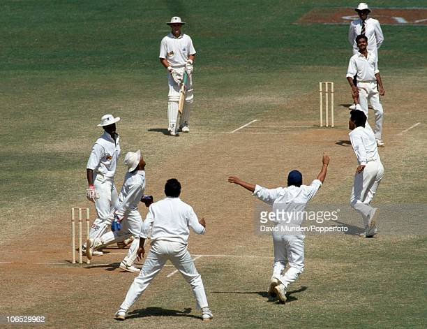 England batsman Chris Lewis is out for 3 caught by wicketkeeper Kiran More off the bowling of Venkatapathy Raju in the second innings of the 3rd Test...
