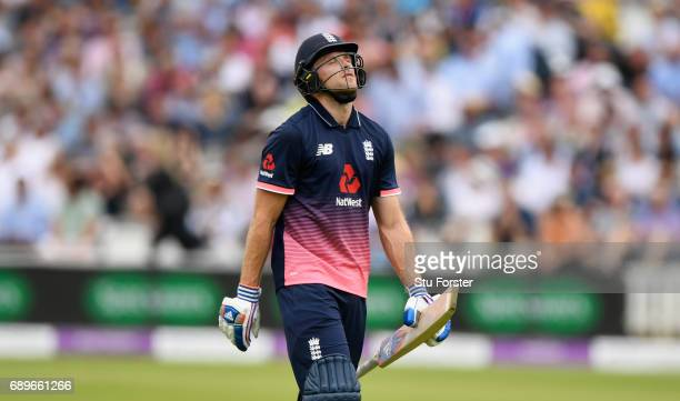 England batsman David Willey reacts after being dismissed during the 3rd Royal London Cup match between England and South Africa at Lord's Cricket...
