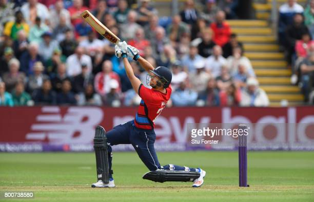 England batsman Dawid Malan hits a straight six during the 3rd NatWest T20 International between England and South Africa at SWALEC Stadium on June...