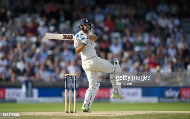 England batsman Dawid Malan hits out during day three of the 2nd Investec Test match between England and West Indies at Headingley on August 27 2017...