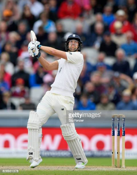 England batsman Dawid Malan hits out during day three of the 4th Investec Test Match between England and South Africa at Old Trafford on August 6...