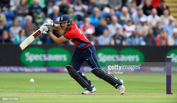 England batsman Dawid Malan hits out during the 3rd NatWest T20 International between England and South Africa at SWALEC Stadium on June 25 2017 in...