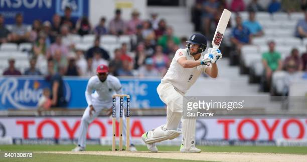 England batsman Dawid Malan picks up some runs during day four of the 2nd Investec Test Match between England and West Indies at Headingley on August...