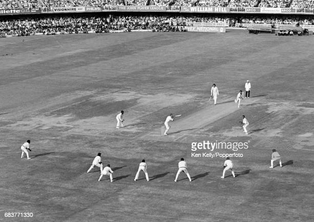 England batsman Derek Underwood plays a delivery from West indies bowler Keith Boyce through a packed field as West Indies look for the final wicket...