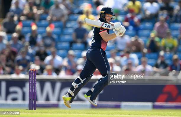 England batsman Eoin Morgan hits out during the 1st Royal London One Day International match between England and South Aafrica at Headingley on May...