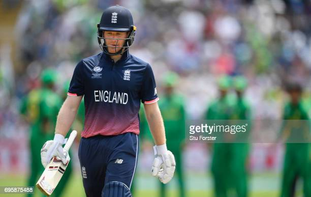 England batsman Eoin Morgan leaves the field after being dismissed during the ICC Champions Trophy semi final between England and Pakistan at SWALEC...
