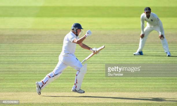 England batsman Gary Ballance celebrates his century during day two of 2nd Investec Test match between England and India at Lord's Cricket Ground on...