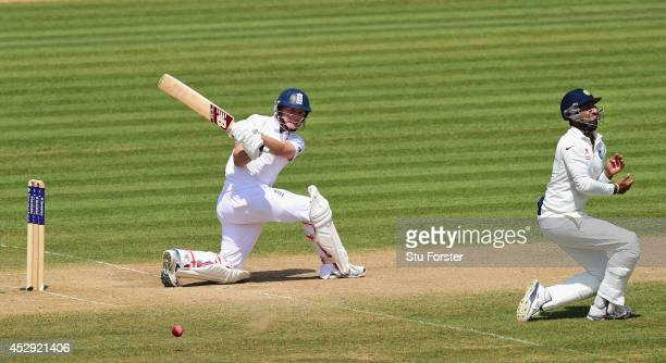 England batsman Gary Ballance goes on the attack during day four of the 3rd Investec Test match between England and India at Ageas Bowl on July 30...