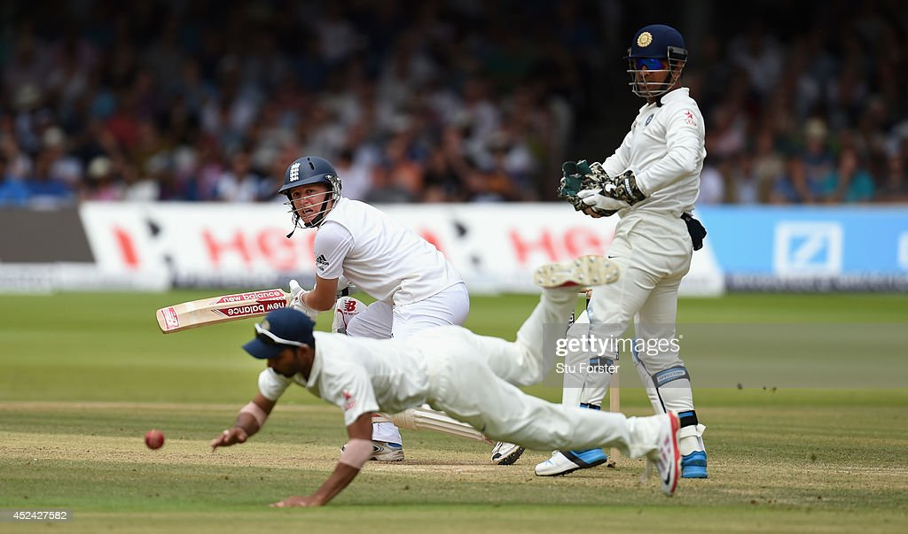 England batsman <a gi-track='captionPersonalityLinkClicked' href=/galleries/search?phrase=Gary+Ballance&family=editorial&specificpeople=7811120 ng-click='$event.stopPropagation()'>Gary Ballance</a> picks up some runs during day four of 2nd Investec Test match between England and India at Lord's Cricket Ground on July 20, 2014 in London, United Kingdom.